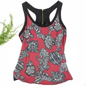 Express Maroon & Black Airy Floral Tank